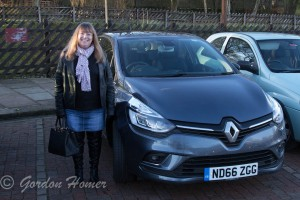 Melanie beside the new car at Oxenhope